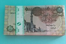 100 Egyptian One Pound Banknotes Crisp consecutive serial UNC COLLECTABLE