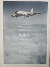 12/1946 PUB BRISTOL AEROPLANE HERCULES ENGINES HASTINGS MILITARY TRANSPORT AD