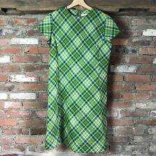 Vintage Apollo of New York Women's Size 4 Green Argyle Knit Cap Sleeve Dress