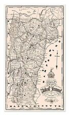"""Large State of Vermont MAP USA New England - circa 1890 - 24"""" x 42"""""""