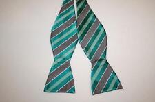 Croft & Barrow Mens Striped Green & Gray Bow Tie Self-tie 100% Silk New NWT
