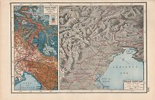 1920 MAP -WORLD WAR 1- ITALIAN FRONT EAST, ISONZO FRONT