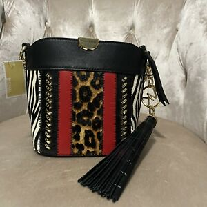 New Michael Kors Bea Leather Bucket Gold Hair Calf Leopard Crossbody Bag Handbag
