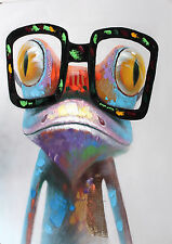 happy frog glasses rainbow Street Art Print  Painting 70cm x 55cm canvas