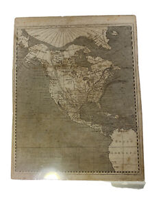 Vintage Map North America 1600s Routes Of Explorers? Migration Single Page