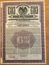 """Tesoro 1950"" Republica Mexicana Bono del Tesoro £200 1913 - London Specimen"