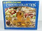 Golden Harvest Vintage Handled 64oz Pitcher and 4 mugs New CIB Lemon Picnic Farm
