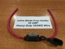 Inline Blade Fuse Holder - 25 AMP Heavy Duty 10AWG Wire Inc Free 25 AMP Fuse x 1