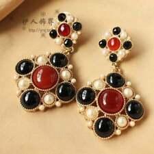 Boucles d'Oreilles CLIP ON Doré Chandelier Byzantine Perle Rouge Noir Retro YW6