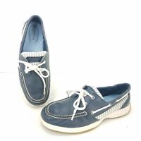 Sperry Top Blue Leather Canvas Boat Shoes Womens Size 7 Classic Leather Slip On