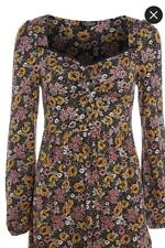 Womens Topshop New Floral Skater Dress  90's style Long Sleeve Size 8