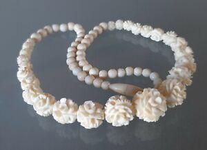 Vintage Carved Bovine Bone Rose Bead Necklace