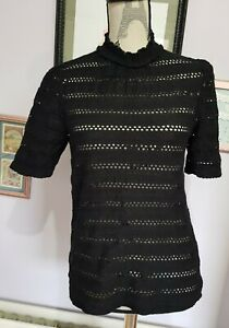 H&M Black High Neck Retro Look Cotton Blend Top Size Small 8 10