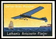 "Germany Poster Stamp - Adv. Gerner-Bräu Beer - Aviatik - Latham's ""Antoinette"""