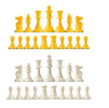 Staunton Triple Weighted Chess Pieces - Full Set 34 Yellow & White - 4 Queens