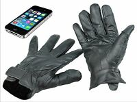 Mens 100% Real Leather Leather Touch Screen Phone Gloves Warm Winter Wear