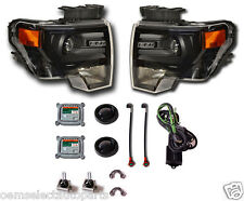 New Oem 2009-2014 Ford F-150 Black Hid Headlights - Pair - Retrofit Kit, Harley
