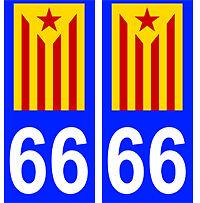 autocollant catalan estelada 66 plaque auto immatriculation