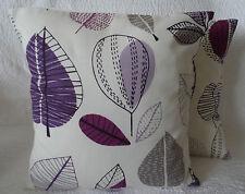 "16"" Cushion Cover Purple Grey Lilac Cream Leaf Print  New Handmade 40cm"