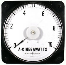 """Vtg. General Electric 9""""t Panel Board Type A-C Megawatts Electric Ammeter Gauge"""