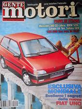 Gente Motori 9 1992 Segreti nuova Fiat Uno. Prove Mercedes 300CE cabrio [Q74]