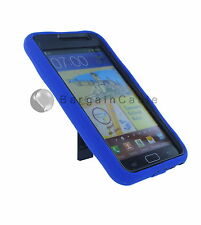 Blue Rubber Hybrid Case & Kickstand for Samsung Galaxy Note I9220 (A-284BLU)