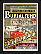OLD  BURIAL ADVERTISEMENT  REPRODUCED ON ALUMINUM 9 X 12 SIGN  Wall Decor - NEW