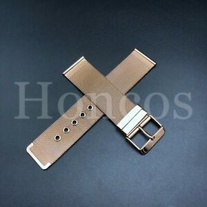 18mm 24mm Heavy Brushed Shark Stainless Steel Mesh Watch Band W/ TANK Buckle