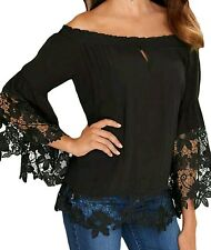 Black Off Shoulder Lace Trim Bell Sleeve Top Blouse Size UK 12-14
