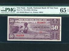 South Viet Nam:P-7a,50 Dong,1956 * Boy W/ Water Buffalo * PMG Gem UNC 65 EPQ *