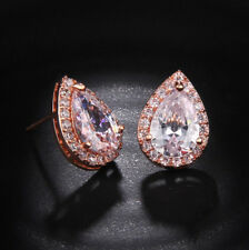 18k Rose Gold GF Solitaire Earrings made w Swarovski Crystal Pear Stone Bridal