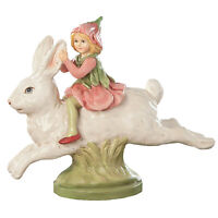 "8"" Bethany Lowe Bunny Rabbit Ride Fairy Retro Vntg Easter Spring Figurine Decor"