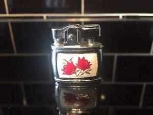 Ladies Vintage Penguin Superative Lighter Red Roses Gold Leaves 50's Tobacciana