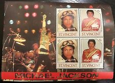 1985 Michael Jackson White Glove Stamp Sheet of 4 stamps - St. Vincent