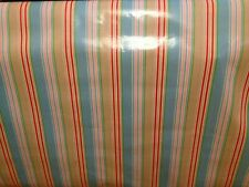 PM Oilcloth fabric, PVC coated, Deckchair  Striped Design, 1950's Vintage Style