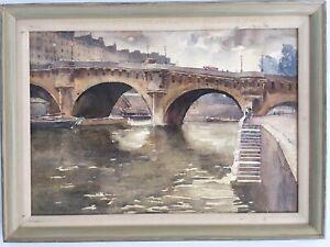 Florence V. Robinson (USA 1874-1937) The Old Bridge Heidelberg Watercolor Signed