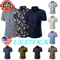 Men Floral Print Hawaiian Short Sleeve T Shirt Holiday Beach Tee Fancy Slim Tops