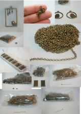 Bulk Lot of Antique Brass Jewelry Findings - chain, findings, and charms