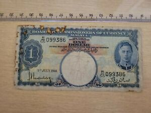 🌎 Malaya 1 dollar  P-11   1 July 1941 WWII Banknote  092221-18