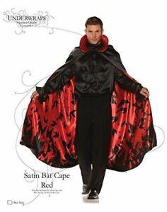 Satin Bat Cape - Black/Red - Vampire - Costume Accessory - Adult Teen