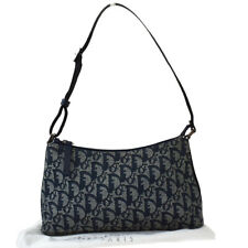 Auth Christian Dior Trotter Pattern Shoulder Bag Canvas Leather Blue 73MF891