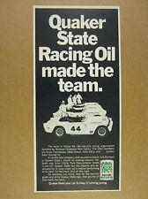 1969 Group 44 TRIUMPH Race Cars photo Quaker State Racing Oil vintage print Ad