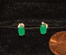 Dainty 14k Yellow Gold 6x4mm Oval Green Emerald DIA Stud Pierced Earrings 8c 31