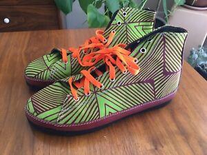 Ida Dakar Handmade Shoe Hi Top High Lace Up Blue Green W 9 Mens Sz 7.5