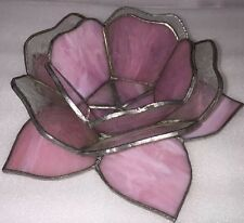 Handmade Lovely Light Pink Tea Light Stainglass Flower Candle Tea-Light Holders
