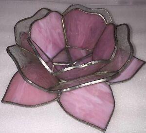 Handmade Lovely Light Pink Tea Light Stainglass Flower Candle Tea-Light Holders