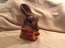 "Royal Copley Pottery Brown Deer & Fawn 10"" Tall Planter"