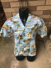 KY's Hawaiian Aloha S Shirt Blue Tan Hibiscus Palm Trees Ocean Brown Buttons