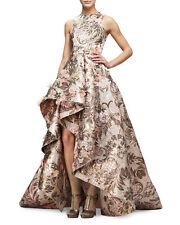 New Monique Lhuillier Metallic Blush Jacquard Tapestry High Low Gown Dress USA 8