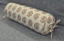 NEW Corded Bolster Neck Roll Pillow made w Ralph Lauren Antigua Paisley Fabric